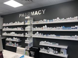 medicines displayed