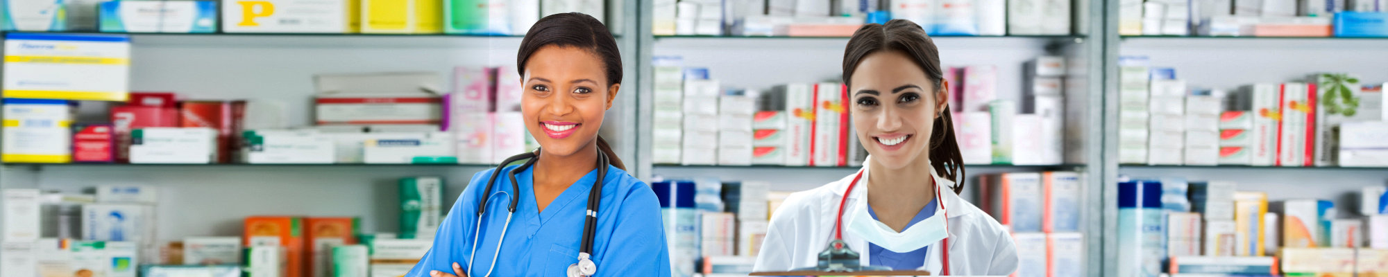 Portrait of a two young pharmacists